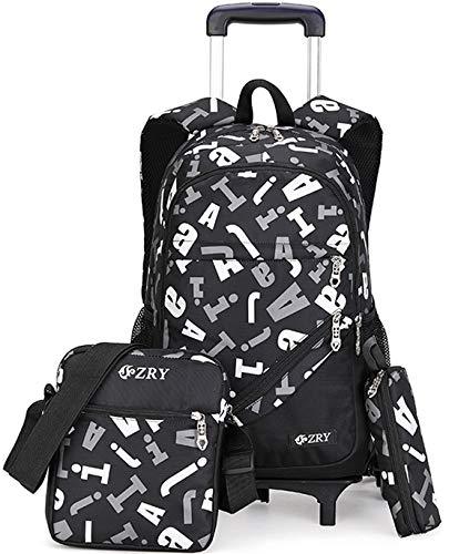 Meetbelify 3pcs Kids Rolling Backpacks Luggage Six Wheels Trolley School Bags … (Black)