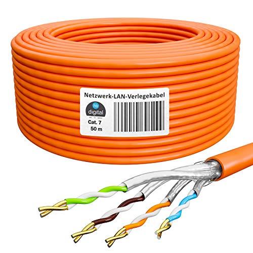 HB-DIGITAL 50m Netzwerkkabel LAN Verlegekabel Ethernet Kabel Cat 7 Kupfer Installationskabel Profi S/FTP PIMF LSZH Halogenfrei Orange RoHS-Compliant cat. 7 Cat7 AWG 23/1
