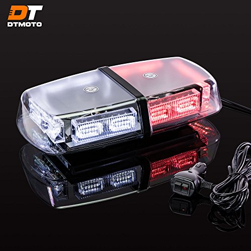 12' 36W Red White LED Strobe Flashing Police Mini Light Bar - Waterproof Magnetic Roof Top Mount Warning Emergency Police Lights For Fire Fighter Vehicle Truck
