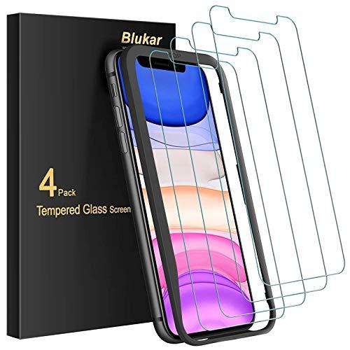 Blukar Panzerglas für iPhone 11, iPhone XR, Panzerglasfolie Mit Installationshilfe, 9H Super-Härte, Blasenfrei und Kratzfest, 4 Stück