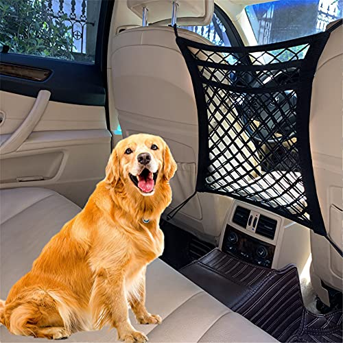FCILY Car Dog Barrier, Pet Barrier Dog Net for Car Between Seats, 3 Layers Back Seat Net Organizer, Backseat Mesh Bag for Cars, SUVs, Trucks, Drive Safely with Children & Pets