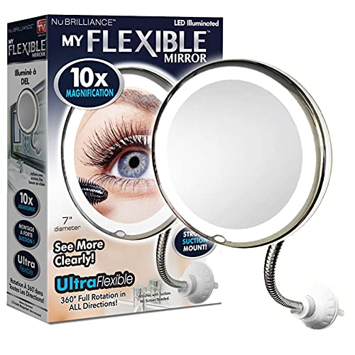"""MY FLEXIBLE MIRROR 10x Magnification 7"""" Make Up Round Vanity Flexible Mirror for Home, Bathroom use with Super Strong Suction Cups As Seen On TV"""