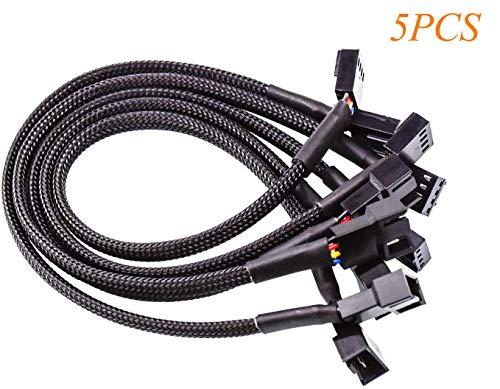 FEIGO 4 Pin PWM Kabel für Lüfterverteiler, Steckergehäuse Geflochtenen Ärmeln Verlängerung Lüfterkabel Männlich zu Weiblich Kompatibel mit 4Pin und 3pin Lüfter