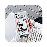 サンフランシスコワシントンバンクーバーシカゴボストンiphone用電話ケース6s 7 8 SE2 11 12 mini Pro X Xs MaxXRエアチケットカバー -Singapore-for iPhone X XS