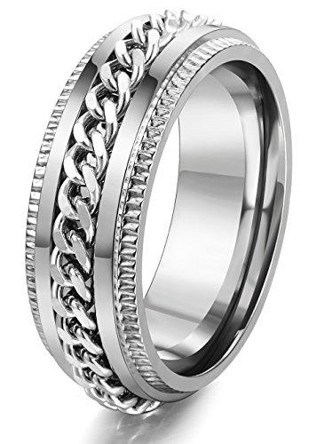 FIBO STEEL Stainless Steel 8mm Rings for Men Chain Rings Biker Grooved Edge Silver Size 12