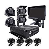 JOINLGO 4 Channel H.264 2.0MP 1080P AHD Two SD 512GB Mobile Vehicle Car DVR MDVR Video Recorder Kit with Night Vision Waterproof Side Front Rear View Car Camera 7 inch Car Monitor