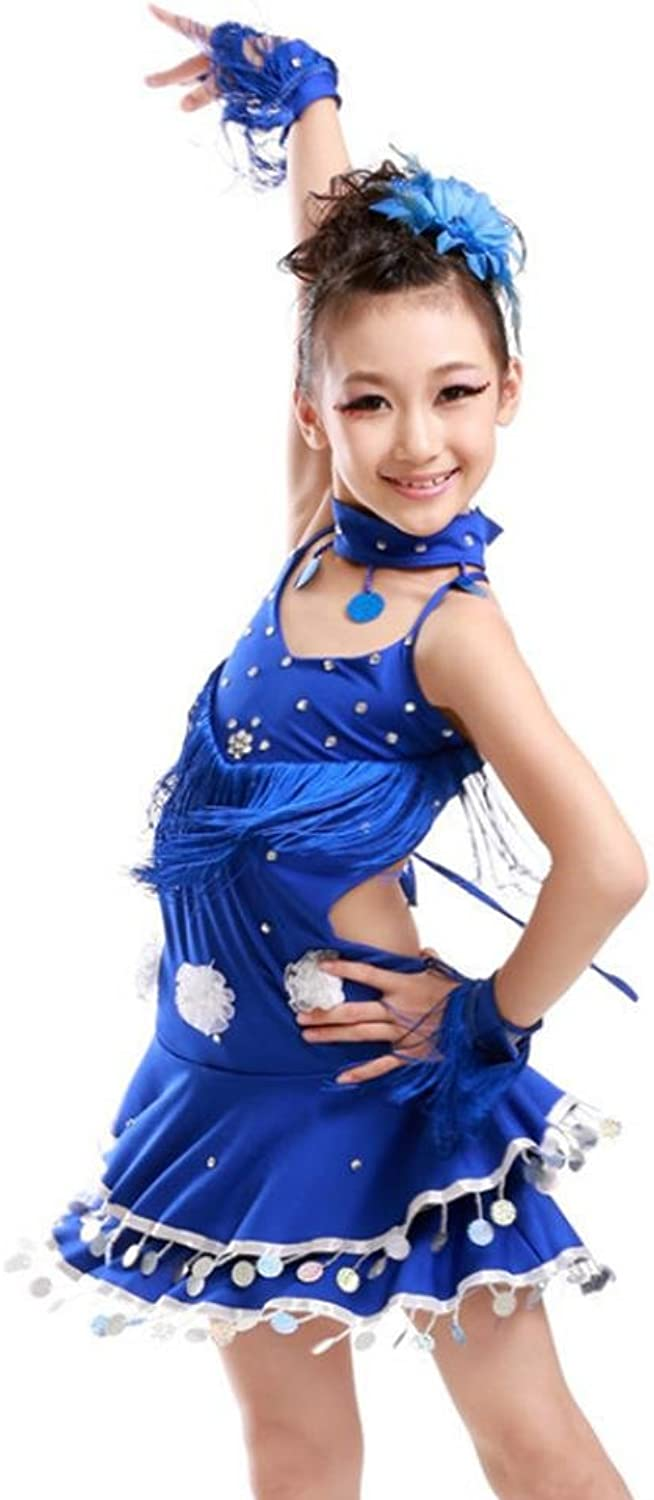Byjia Girls Flower Tassels Drilling Hot Latin Dance Dress