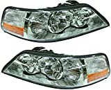 Evan-Fischer Headlight Set Compatible with 2003-2004 Lincoln Town Car Left Driver and Right Passenger Side Halogen With bulb(s)