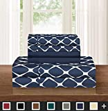 Elegant Comfort Luxury Softest and Coziest 6-Piece Bed Sheet Set, Wrinkle Resistant Milano Trellis Pattern - 1500 Thread Count Egyptian Quality Coziest Bedding Set, Navy Blue, Queen