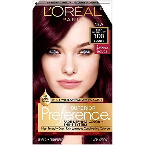 L'Oreal Paris Superior Preference Fade-Defying + Shine Permanent Hair Color, 3DB Deep Burgundy, Pack of 1, Hair Dye
