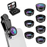 Phone Camera Lens, 210 °Fisheye Lens + 120 °Wide Angle + 25X Macro + 2X Telephoto + Star Lens + CPL + 6 Kaleidoscope 7 in 1 Phone Lens Kit Compatible with iPhone/Samsung/Google Pixel etc