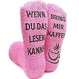 iZoeL Witzige Socken mit Geschenkbox Herr Frau Fre&in Spruch Wenn Du Das Lesen Kannst Bring mir Schokolade/Kaffee/Wein Lustige Adventskalender Weihnachten Valentine Geschenk (Pink Kaffee)
