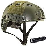 QMFIVE Casco táctico Estilo Militar, Casco de Airsoft Paintball Casco para con protección Gafas para Airsoft o Paintball, con Gafas, para Combate en Espacios Cerrados (Verde+L)