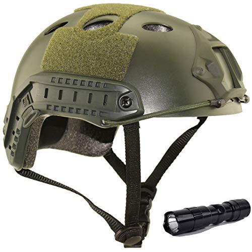 QMFIVE Tactical Veloce Casco con Occhiali Military Tactical Helmet CS Airsoft SWAT Paintball della Base di Casco Protettivo (Verde+L)