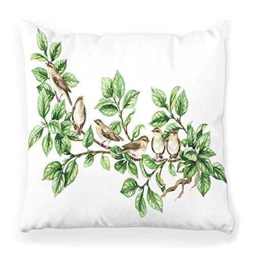 Funda de Cojine Cojín decorativo Cojín Pintura Dibujado a mano Bosquejo animalista Bosque Sentado Rama de árbol verde Rebaño Aislado Arte blanco Bevy Throw Cojín 45X45CM