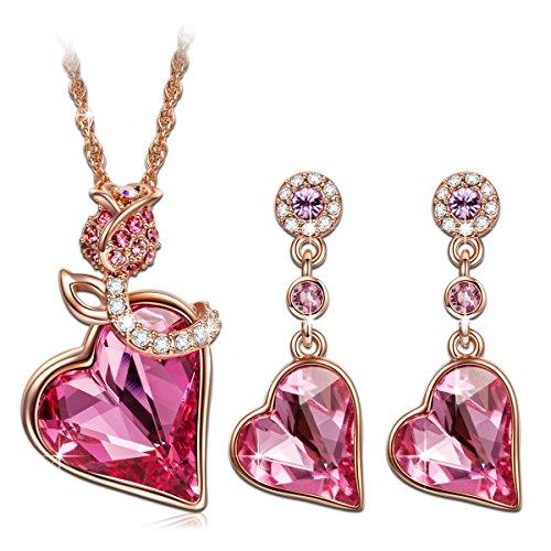 Kami Idea Regalos Dia de la Madre Collares Mujer Joven Pendientes Mujer Tous Mujer Joyeria Swarovski Corazón Rosa Regalos para Mujer Regalos para Mama Regalo Cumpleaños Mujer