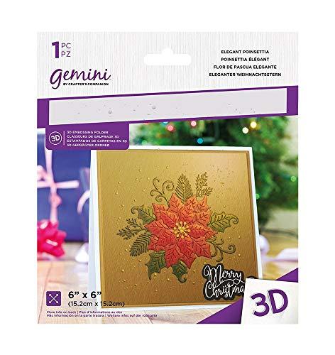 Crafters Companion GEM-EF6-3D-EP Gemini 15 x 15 cm 3D-Prägeschablone, eleganter Weihnachtsstern, farblos, Einheitsgröße