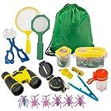 FORMIZON Kit de Exploración para Niños 17 Piezas, Outdoor Explorer Kit Regalos Juguetes, Binoculares, Silbato, Brújula, Lupa, Clip de Insectos, para Niños para Acampada y Senderismo (A)
