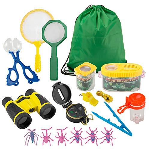 FORMIZON Kit de Exploracin para Nios 17 Piezas, Outdoor Explorer Kit Regalos Juguetes, Binoculares, Silbato, Brjula, Lupa, Clip de Insectos, para Nios para Acampada y Senderismo (A)
