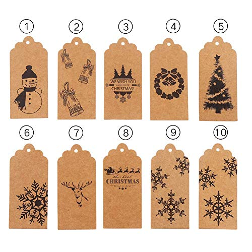 Christmas Gift Tags,100 PCS Kraft Paper Tags for Christmas Wedding Brown Craft Hang Tagswith Free 100 Feet Color String and 100 Feet Natural Jute (Brown)