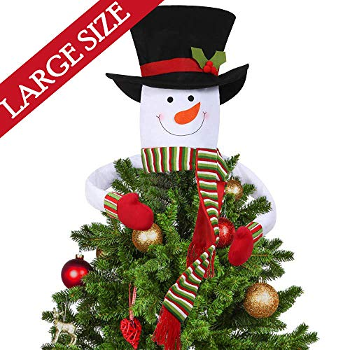 Christmas Tree Topper Snowman Hugger Large Top Hat Outdoor Indoor Novelty Christmas Decorations Xmas Holiday Winter Wonderland Party Home Decor White