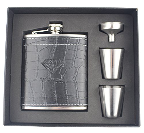 Diamant en acier inoxydable 7 Once Cuir Flasque de avec 2 tasses 1 entonnoir pour ranger Whisky/Alcool, boîte cadeau, ( 2 Cups Set )