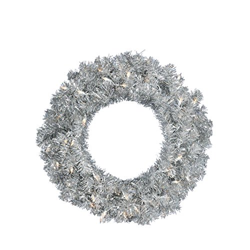 Vickerman Pre-Lit Silver Sparkling Tinsel Artificial Christmas Wreath with Clear Lights, 24'