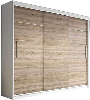 mb-moebel Kleiderschrank Schwebetürenschrank, Kleiderstange und Einlegeboden für Schlafzimmer Wohnzimmer Schiebetüren Schrank Modern Design 250 cm ELBA II (Weiß+ Sonoma)