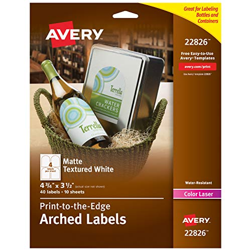 Avery Arched Wine Labels with Sure Feed for Laser Printers, 4.75' x 3.5', 40 White Labels (22826)