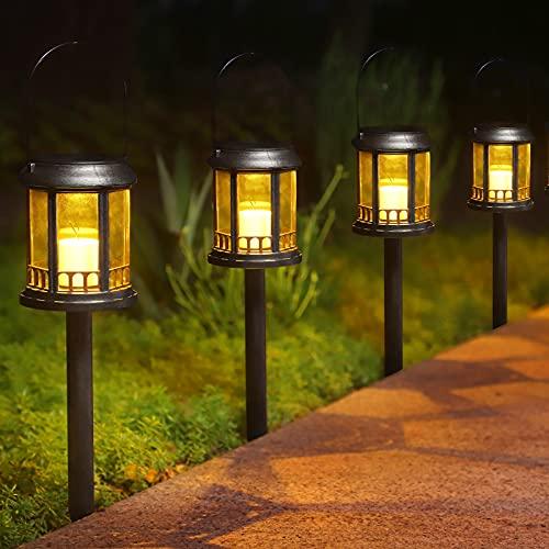 Farol Solar Exterior Jardin, Ulmisfee Luces de Linterna Solar 6 pcs, Luz LED con Vela Efecto, IP44 Impermeable Lámpara el Plastico para Decoracion Patio Terraza Césped Arboles Fiesta Navidad (Negro)