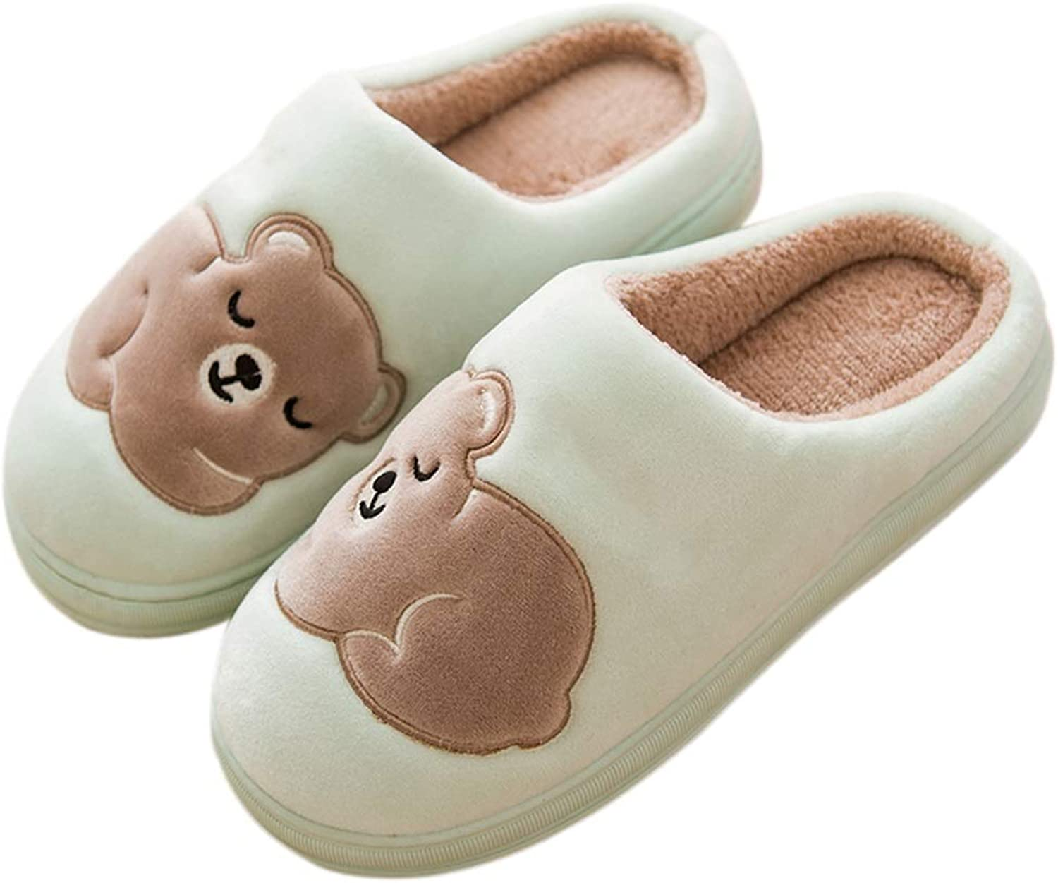 HUYP Green Female Cotton Slippers Simple Autumn and Winter Skid Home Indoor Cute (Size   6 US)