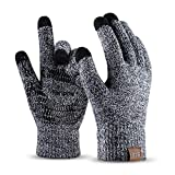 Winter Knit Gloves For Men And Women, Touch Screen Texting Soft Warm Thermal Fleece Lining Gloves With Anti-Slip Silicone Gel (Black&White-M)