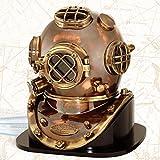 Antique Brass Deep Sea US Navy Mark V Diving Marine Scuba Divers Helmet 18' Base