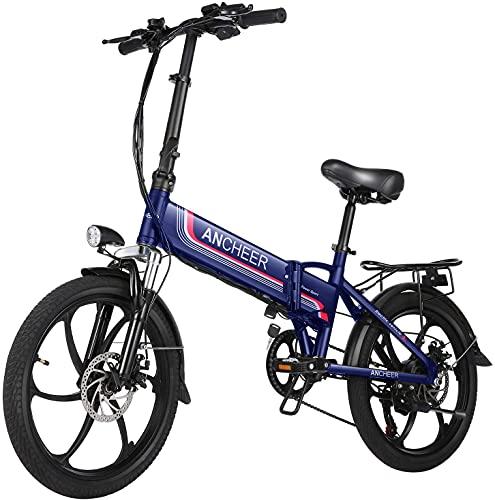BIKFUN Bicicletta da Montagna Pieghevole per Bicicletta Elettrica 26/20 Pneumatici E-Bike 250 W, Batteria al Litio 36 V 8 Ah, Sospensione Completa Premium, 21/7 velocità