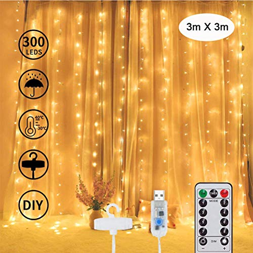 300 LED Curtain Lights , 3m x 3m Warm White Fairy String Lights 8 Modes with Hooks, Window Lights for Outdoor Indoor, Bedroom Wedding Decorations, Party, Gazebo, Garden,USB Charging,Remote Control