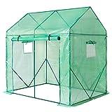 Yorbay Invernadero de Jardín Plastico Invernadero para Tomates, Terraza, Techo Puntiagudo, Verde, 200 x 140 x 200 cm