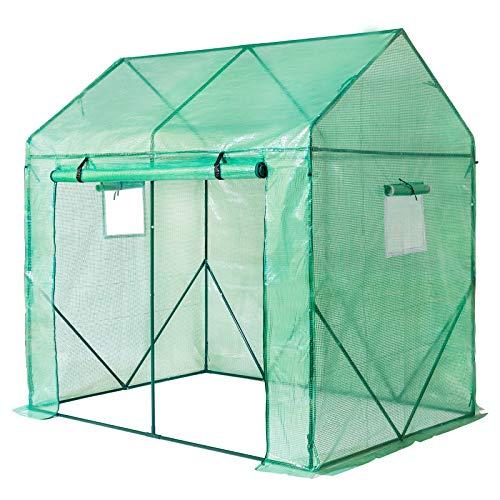 Yorbay Serra da Giardino, con griglia Rete Schermo in PE (140g/㎡), con Telaio in Acciaio, con finestrela, per Giardino per la Coltivazione, 200 X 140 X 200 cm