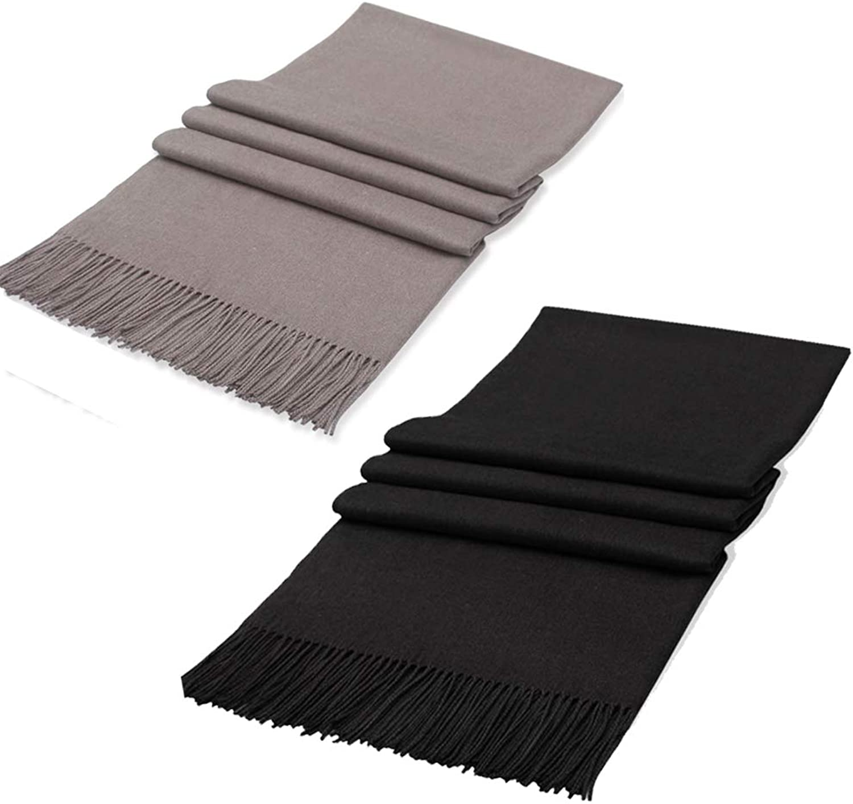 2 Packs Large Soft Elegant Plain Pashmina Scarf Shawl Wrap For Women