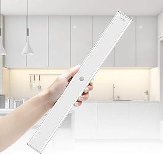 LightingWill LED Ultra-Thin Wireless Under Cabinet Light, Warm White, 80 LEDs with 1500MA Battery, Motion Sensor Under Cab...