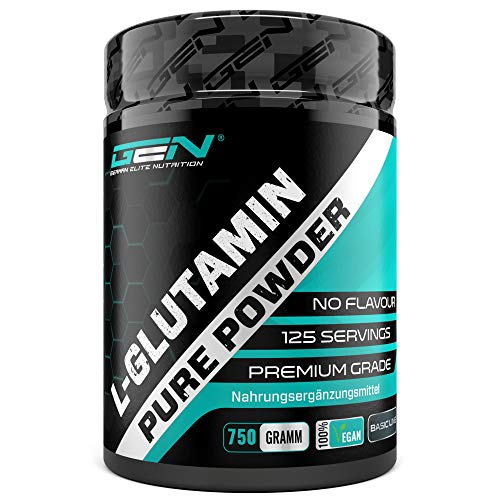 L-Glutamin Pulver - 750 g - Ultra hohe Reinheit ohne Zusätze - Laborgeprüft -100% micronized L-Glutamine Aminosäure - Unlflavoured Neutral - German Elite Nutrition