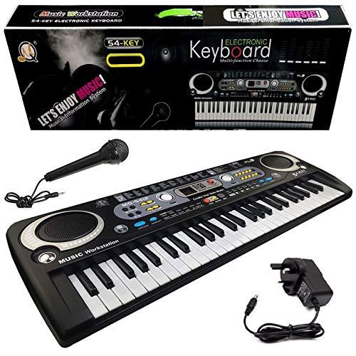Rexco Black Digital 54 Keys Electronic Keyboard & Microphone Mic Electric...