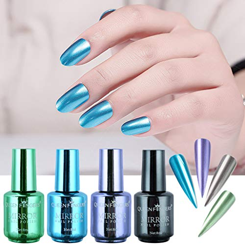 ChallengE 4 Pcs Placage Métallique Vernis À Ongles Ensemble Magique Effet Semi-Miroir Vernis À Ongles(4 Pcs Plating Metallic Nail Polish Set Magic Semi-Mirror Effect Nail Lacquer)