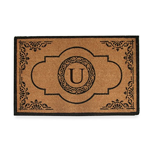 First Impression Hand Crafted Abrilina Entry Coir Monogrammed Double Doormat, 72' L X 36' W, X-Large 20' X 32'
