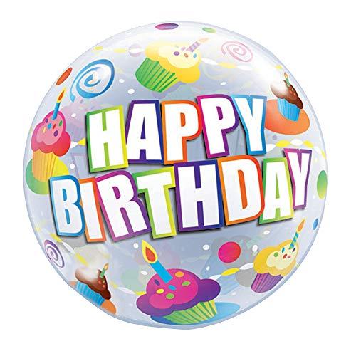 Qualatex Luftballon mit Aufschrift Happy Birthday und Cupcakes, rund, 56 cm (Einheitsgröße) (Bunt)