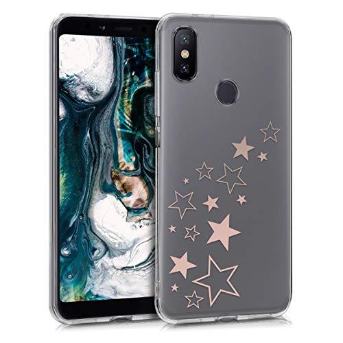 Preisvergleich Produktbild kwmobile Hülle kompatibel mit Xiaomi Mi 6X / Mi A2 - Handyhülle - Handy Case Sternenmix Rosegold Transparent
