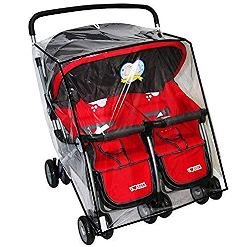 Universal Stroller Raincover Twins Strollers Double Side by Side Baby Stroller rain Cover for Pushchair Pram Buggy Rainproof Dustproof Windproof Rain Cover with Canopy and Zipper Door