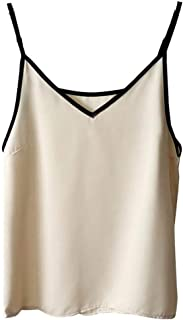 Khouses Women's summer satin chiffon camisole v-neck bottoming shirt sleeveless top (Color : Apricot)