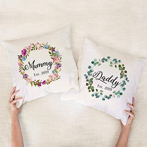 Mummy and daddy cushion cover/Floral Cute Mother's Day, Father's Day Gift/Gift for mum and dad/New mum dad gift