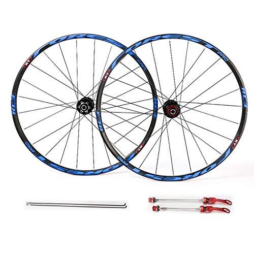 MZPWJD Juego de ruedas de bicicleta de 26 pulgadas, 27.5 pulgadas, juego de llantas de doble pared 7, 8, 9, 10, 11 velocidades, eje de rodamientos sellados (color: azul, tamaño: 27.5 pulgadas)