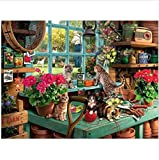 Paint By Numbers Gift Window Sill Cat Flowers Decoración Para Adultos Kid Diy 40X50Cm-With Frame